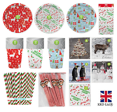 £3 • Buy CHRISTMAS PARTY TABLEWARE Childrens Adults Dinner Paper Plates Cups Napkins UK