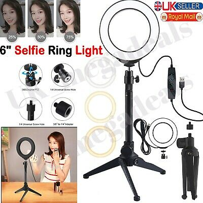 6  Dimmable Lighting LED Ring Light Kit Phone Selfie Tripod Stand Youtube Live • 9.99£