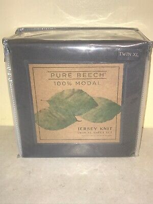 NEW PURE BEECH Twin XL Size Modal Jersey Knit Sheet Set CHARCOAL 1201B • 27.99$