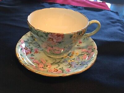 Shelley England Melody Chintz Tea Cup Saucer Ripon Shape • 47.55£