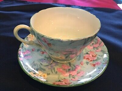 Shelley England Melody Chintz Tea Cup & Saucer Ripon Shape • 47.55£