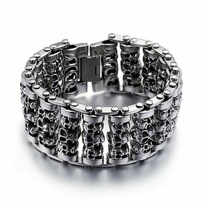 Mens Designer Skulls Bracelets For Men Skull Silver 316l Luxury Biker Gothic Ltd • 19.77£