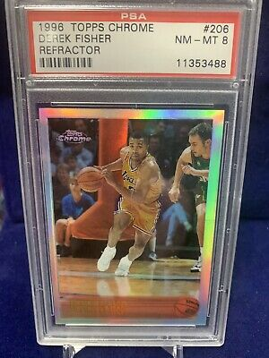 1996 Topps Chrome Refractor Derek Fisher ROOKIE RC #206 PSA 8 Nm-mt Lakers • 90$