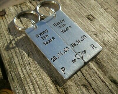 HAPPY TIN YEARS Personalised Wedding Anniversary Gifts Husband Wife 10th Keyring • 14.99£
