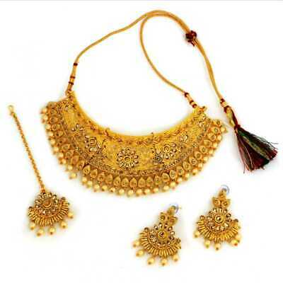 Choker Indian Traditional Ethnic Gold Plated Necklace Set Wedding Bridal Jewelry • 24.99$