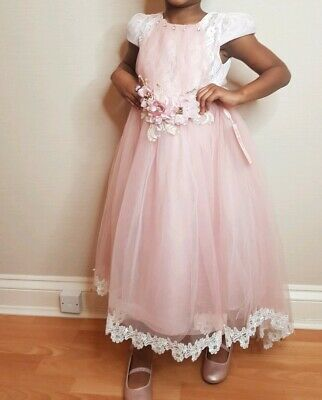 Girls High Low Pink Dress With Flower Detail • 32£