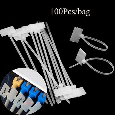 Waterproof Cable Labels Identification Tags Fiber Wire Organizers Zip Ties • 6.03£