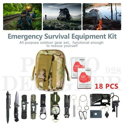 AU35.84 • Buy 18Pcs Emergency Survival Equipment Kit Outdoor Tactical Hiking Camping SOS Tool