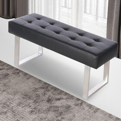 Multi-function Dining Bench Long Seat Chair Black Faux Leather Lounge Stool Home • 86.95£