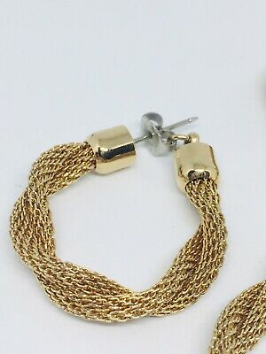 Sarah Coventry Earrings Bracelet Set Signed Jewelry Gold Mesh Twist Vintage • 14.99$