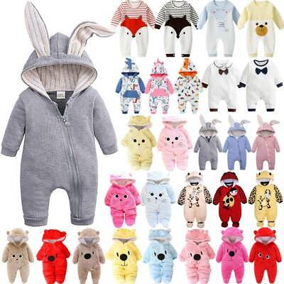 Newborn Baby Boy Girl Kids Animals Ears Hooded Romper Jumpsuit Clothes Outfits • 11.87£