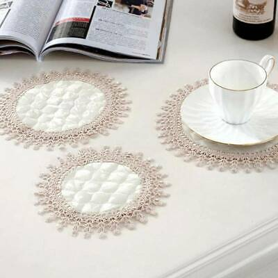 Round Lace Fabric Mats Non Slip Heat Insulation Embroidery Dining Table Placemat • 2.46£