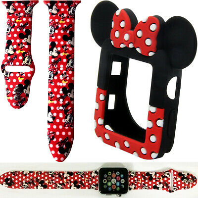 $ CDN14.30 • Buy Mickey Minnie Mouse Watch Band Case For Apple Watch Series 5 4 3 2 1 38mm-44mm