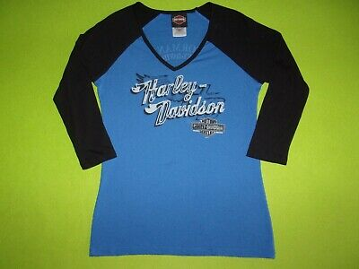 $ CDN12.06 • Buy Harley Davidson Motorcycle V Neck Womens T Shirt Fitted Top Size Small