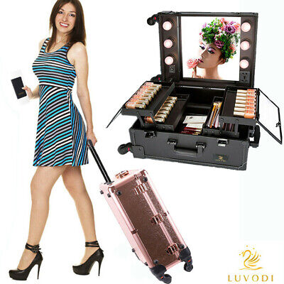 Professional Vanity Wheels Rolling LED Makeup Trolley Train Case W/ Large Mirror • 151.98$