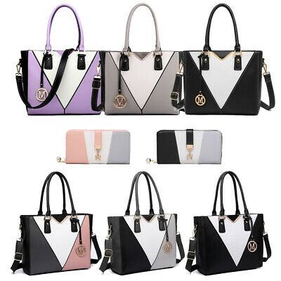 Women Ladies Faux Leather Shoulder Handbag Tote Bag Patchwork V-Shape • 9.99£