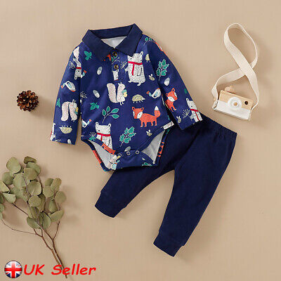 Newborn Baby Boys Girls Animal Print Romper Tops Jumpsuit Pants Outfits Clothes • 7.69£