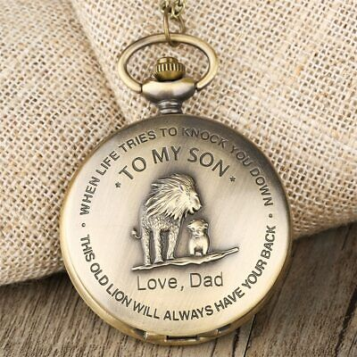 Bronze Necklace Pocket Watch - Gift To My Son, Love Dad Lion King - Sent From US • 11.99$