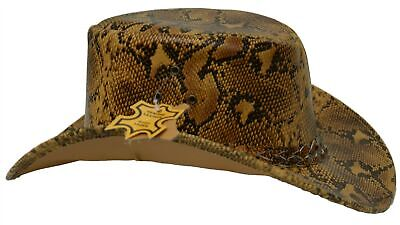 £20.76 • Buy Snake Print Real Leather Aussie Style Bush Hat Burmese Python Cowboy Cowgirl