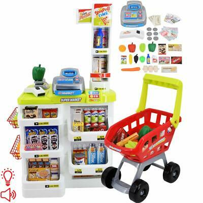 £29.99 • Buy Kids Supermarket Shop Role Play Cash Till Play Food And Toy Trolley By Delex