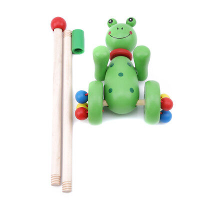 Wooden Trolley Frog Bear Animal Cart Push Along Development For Toddler Toys One • 7.54£