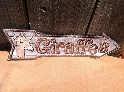Giraffes This Way To Arrow Sign Directional Novelty Metal 17  X 5  • 8.95$