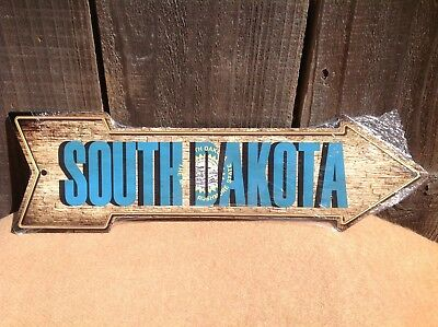 South Dakota State Flag This Way To Arrow Sign Novelty Metal 17  X 5  • 8.95$