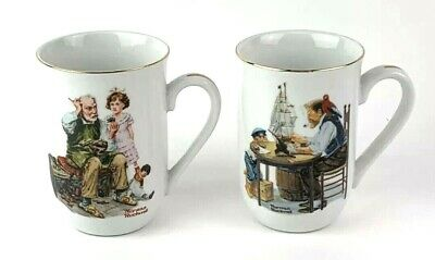 $ CDN30.16 • Buy Vtg Norman Rockwell Museum Porcelain Gold Trim Collector Mugs 1982 Set Of Two
