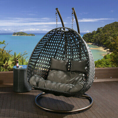 AU799 • Buy Double Seater Hanging Pod Chair - Black Wicker Dark Grey Cushions - Available
