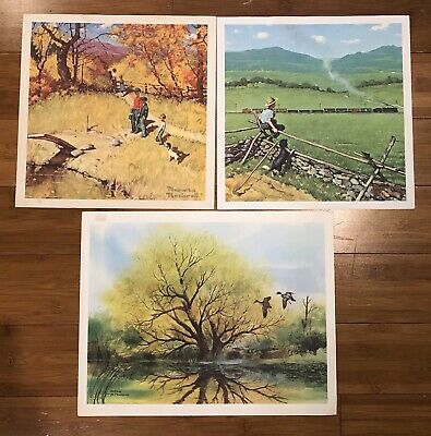 $ CDN13.32 • Buy Vintage Lot 3 Sherm Pehrson Norman Rockwell Nature Prints 1976 Ducks Train Pond