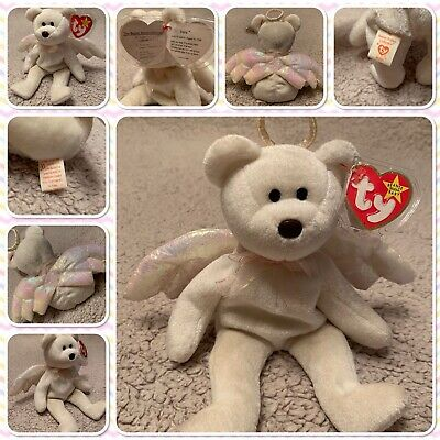 TY Beanie Baby Halo The Angel Bear 1998 - BROWN NOSE With TAG No.425 • 200£