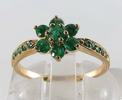 £269 • Buy 9ct 9k Gold Daisy Colombian Emerald Art Deco Ins Ring Free Resize