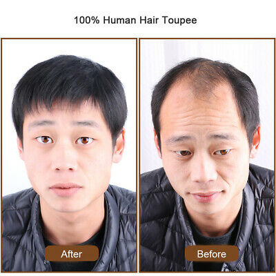 £9.58 • Buy Thin 100% Human Hair Toupee Hairpiece For Men Clip In Top Piece Topper Extension