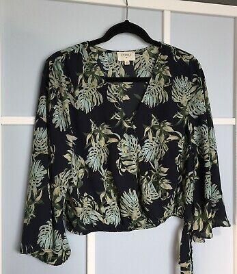 $ CDN18 • Buy Anthropologie Everly Floral Navy Multicolour Blouse Size Large