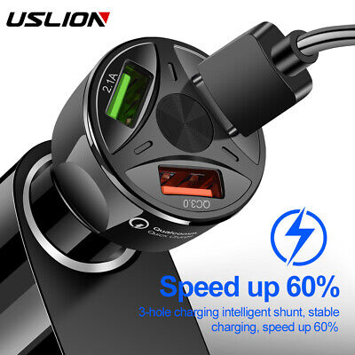 $ CDN4.36 • Buy 3 Ports USB Car Charger Adapter LED Display QC 3.0 Fast Charging For IOS Android
