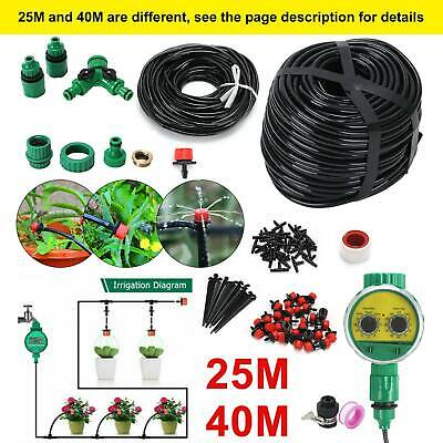 25M/40M Automatic Drip Irrigation System Kit Plant Self Watering Garden Hose UK • 9.99£