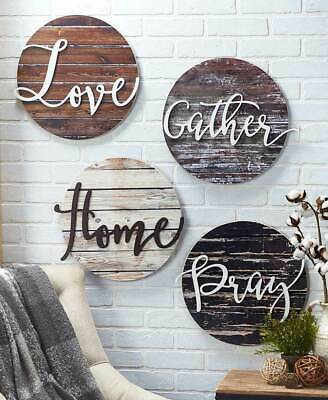 Home Wall Decor Wood Art Sentiment Plaques Rustic Signs Love Gather Home Or Pray • 56.71£