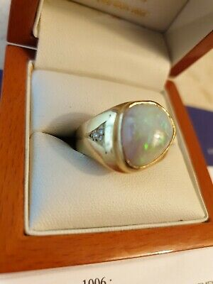 AU1250 • Buy Mens Solid Opal And Diamond Ring