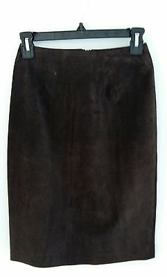 $ CDN25 • Buy Danier Leather Brown Suede Pencil Skirt Size 4 (fits Like 2) Chocolate Knee