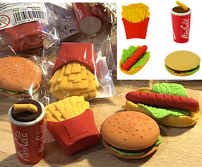 Fast Food Erasers Rubber Stationery Boys Girls Prizes Birthday Party Bag Fillers • 0.99£