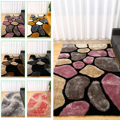 Long Pile Thick 3D Stone/Swirl Pattern Shaggy Rug Mat Living Room Bedroom Carpet • 62.95£