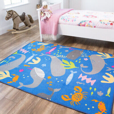 Multi Coloured Sea Side Mats | Budget Kids Bedroom Rugs | Whales Crabs Fish Mat • 14.95£