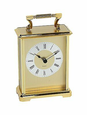 Carriage Clock With Roman Numerals In Gold • 39.95£