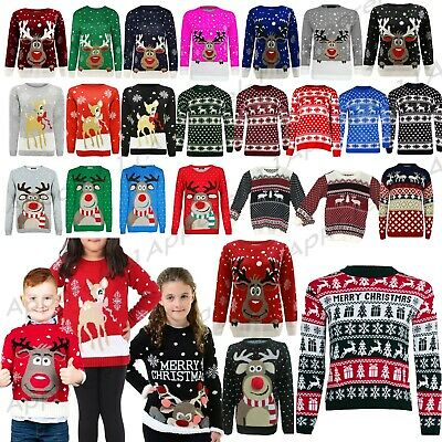 Kids Boys Girls Children Unisex XMAS Christmas Jumpers Knitted Reindeer Rudolph • 8.99£