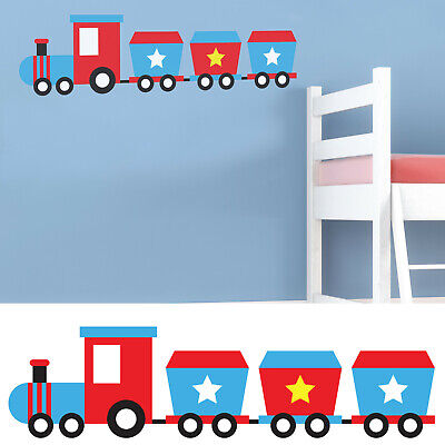 Childrens/Kids Bedroom Wall Train Carriage Boys Blue Sticker Decal  • 7.99£