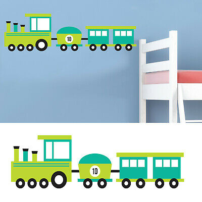 Childrens/Kids Bedroom Wall Train Carriage Boys Green Sticker Decal  • 7.99£