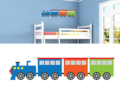 Childrens/Kids Bedroom Wall Train Carriage Boys Blue Orange Green Sticker Decal  • 7.99£