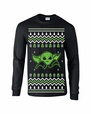 $19.99 • Buy 693 Baby Yoda Long Sleeve Shirt Ugly Christmas Sweater Party Holiday Gift Jedi