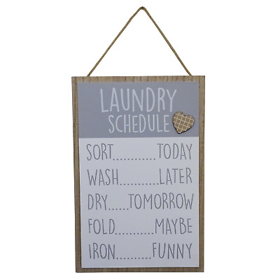 Plaque Laundry Rules Schedule Funny Utiltiy Room Kitchen Sarcastic Wooden Sign  • 10.99£