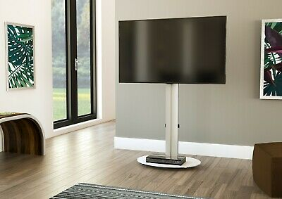 £54.99 • Buy Mahara TV Stand With Swivel VESA Bracket, Silver, With White Glass Up To 55